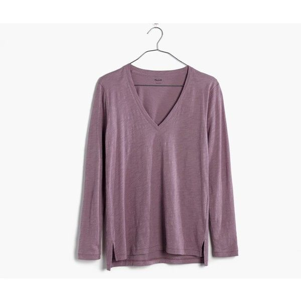Madewell Clothing ($32) ❤ liked on Polyvore featuring tops, fig, purple top, purple long sleeve top, draped tops, long sleeve drape top and v neck tops