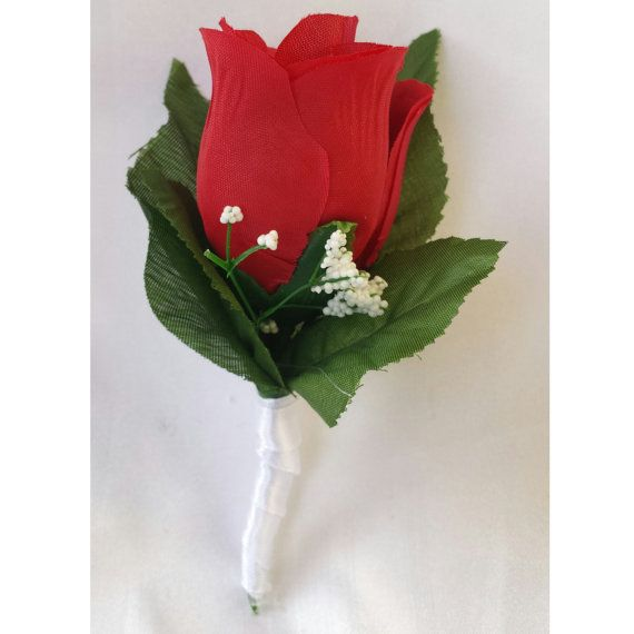 Red boutonniere Red rose Boutonniere by StylishSuppliesDecor