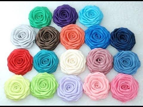 How to make Ribbon Rose - flat, Tutorial, DIY