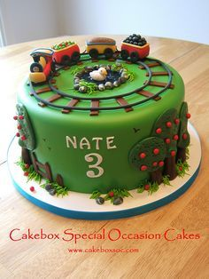 Train Cake by cakeboxsoc, via Flickr----does this mean it's meant to be??? I am looking for a train cake for Nates 3rd birthday.