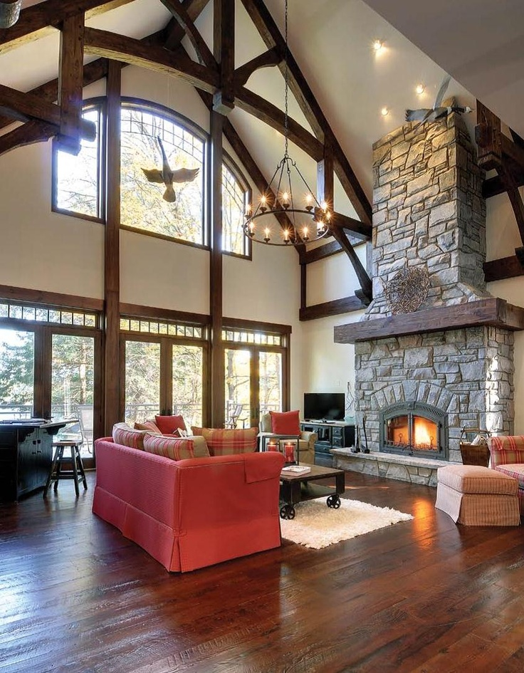 Classic Great Room Overlooking Lake Muskoka Interiors
