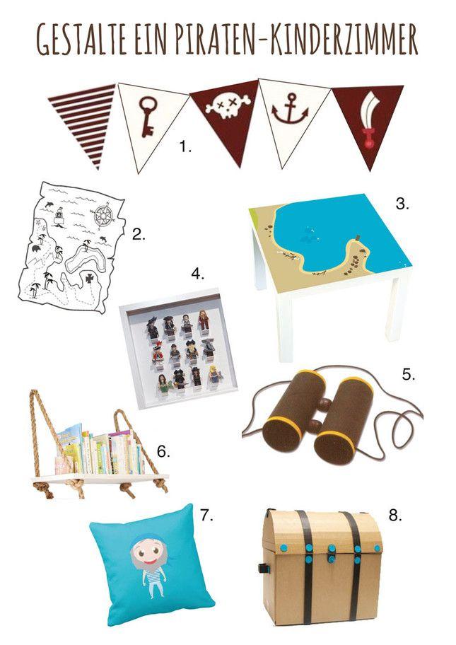 Piraten Kinderzimmer Ideen: Vom Spieltisch bis zur Schatztruhe und Kinderregalen DIY - IKEA Hacks - Bastelideen - Free Printables