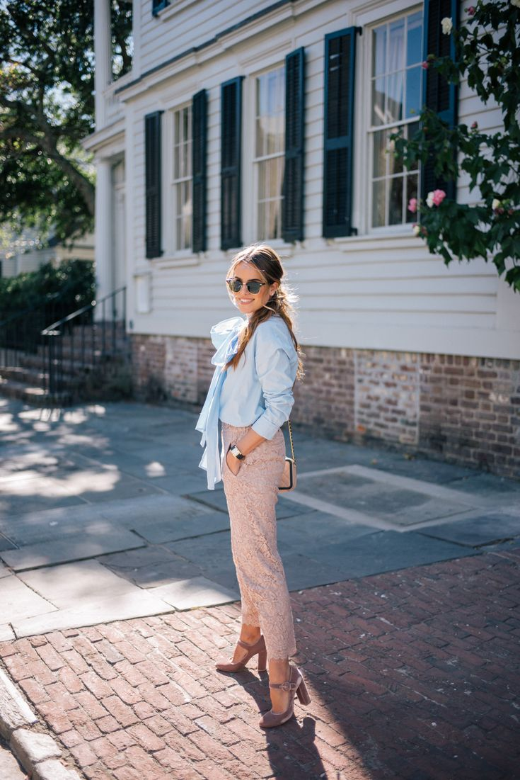 Gal Meets Glam Bows & Lace - Suno top, J.Crew pants, Gianvito Rossi pumps, Ray Ban sunglasses, Chanel bag & Hermes watch