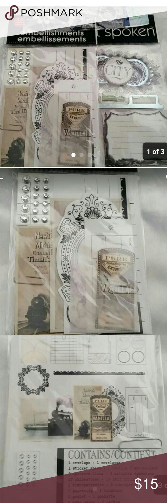 Scrapbooking embellishment kit Hi i have a really pretty scrapbooking kit here all brand new and will also ship out with a free gift the last pic shows what all is included please let me know if you have an offer all reasonable offers will be considerd and of course if you have any questions im happy to help Thanks for taking a look Other