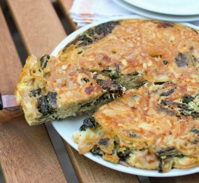 #frittata di pasta al forno in versione light! #frittatadipasta #picnic #ricette #ricetta #light #verdure #spinaci #donnesi #sicucina