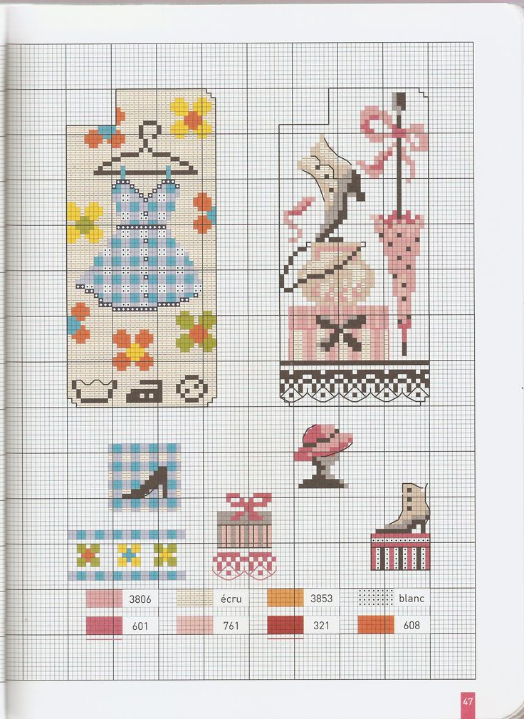 Small fashion chart for cross stitch, knitting, knotting, beading, weaving, pixel art, and other crafting projects.