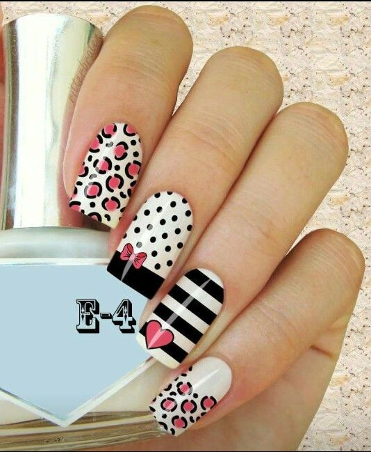 Hearts, dots & animal print desing