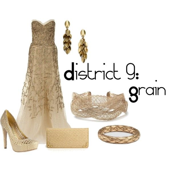 District 9: Grain, created by checkers007.polyvore.com  Outfit for The Hunger Games, District 9: Grain.  Sorry for the ridiculous expensiveness of the dress...