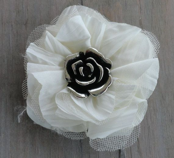 Pearl White and silver Flower Hair Clip Baby by HairPlayBowtique