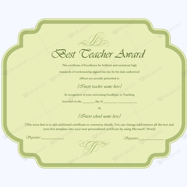 Best Teacher Award Certificate Template Word Award Certificate
