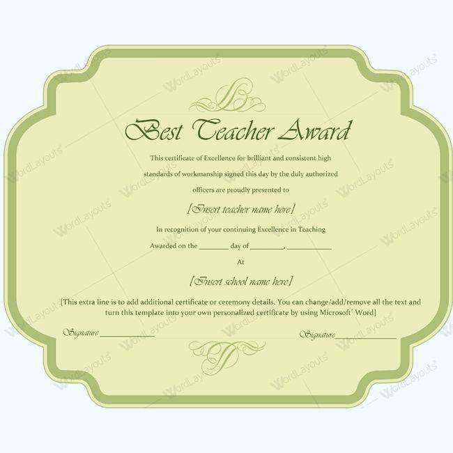 Best Teacher Award Certificate Template Word #award #certificate - awards template word