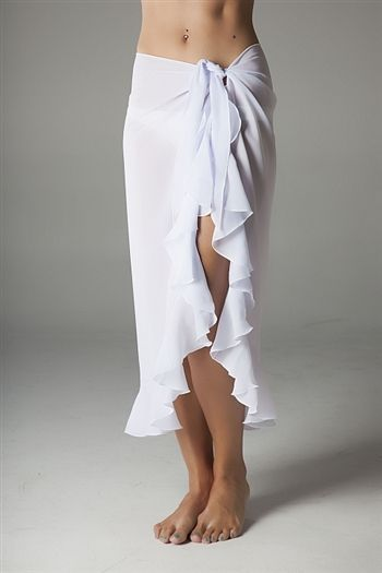 This long ruffle sarong is perfect for a beach wedding or the honeymoon. Makes a great gift for bride-to-be.