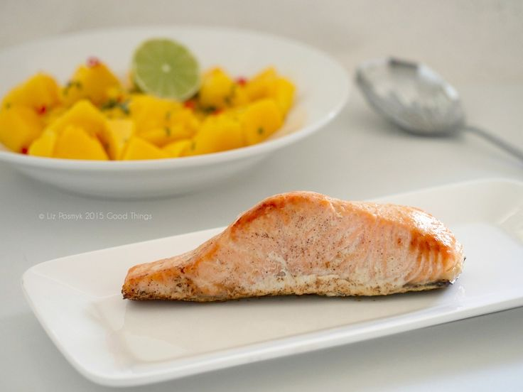 Lime and chilli baked salmon with a mango salsa