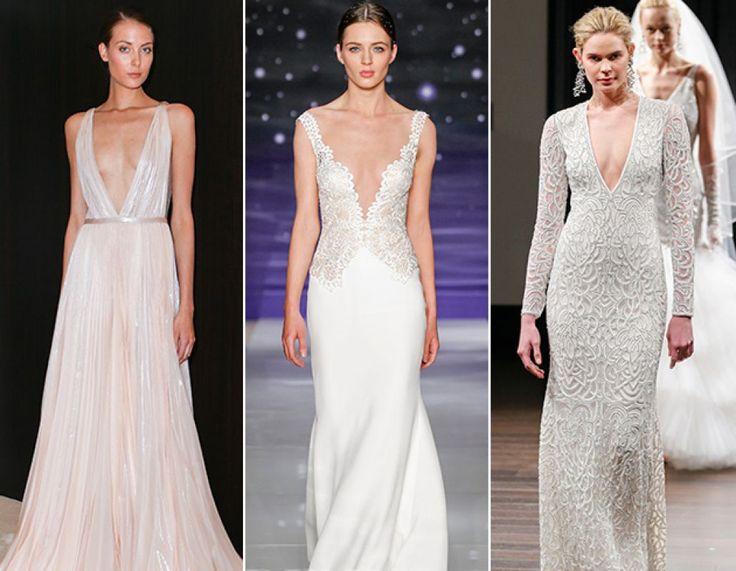 Decolteuri sunt la putere!  Designerii de rochii pentru mirese au recreat tendinta decolteului iluzie folosind materiale pure pe corsaje si fuste, asa cum regasim in creatiile semnate de Hayley Paige, Reem Acra ori Monique Lhuillier.