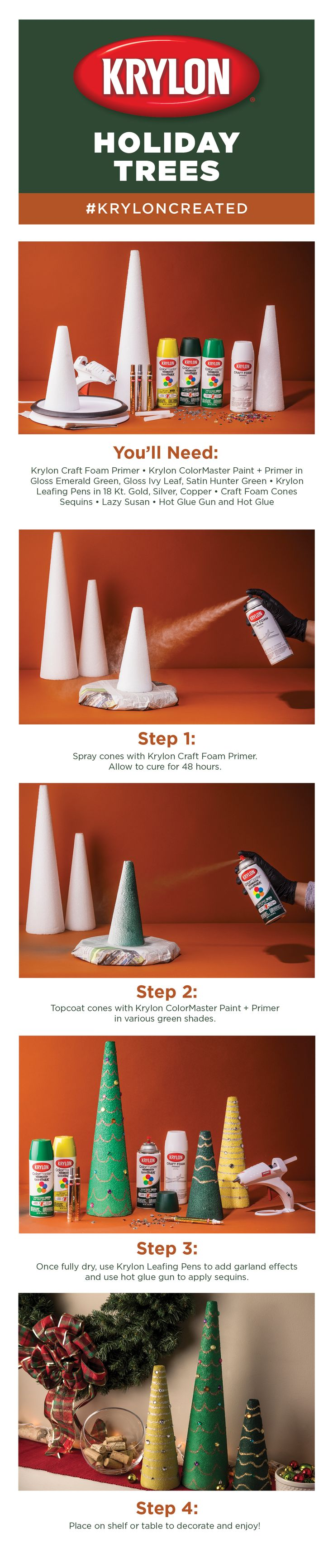 Painting miniatures color master primer - Craft Foam Cones Are The Perfect Way To Create Christmas Tree Home D Cor For The Holidays Spray Paint Using Krylon Craft Foam Primer Krylon Colormaster In