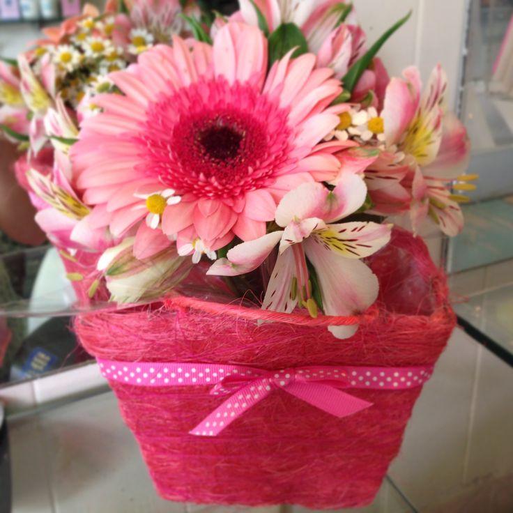 Summer beauty in sisal basket.