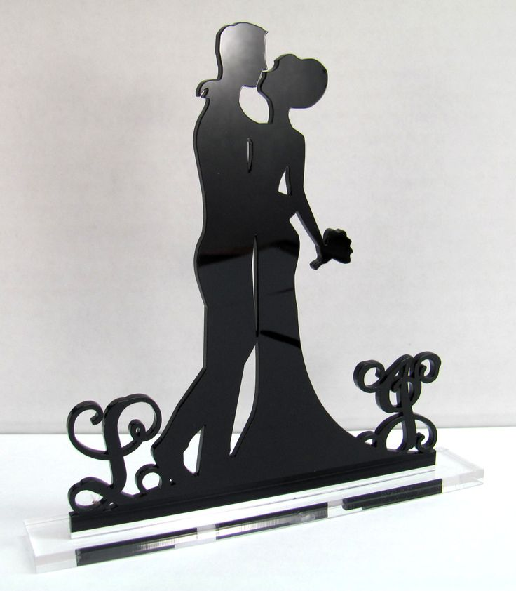Wedding CAKE TOPPER Silhouette With 2 Monogram by Mclaserpro, $25.00