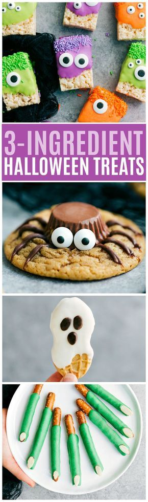 3-ingredient Halloween Treats: so quick, easy, cute, and delicious!! Rice Krispies Treat Monsters, Spider Peanut Butter Cookies, Ghost Nutter Butters, and Witch Pretzel Fingers