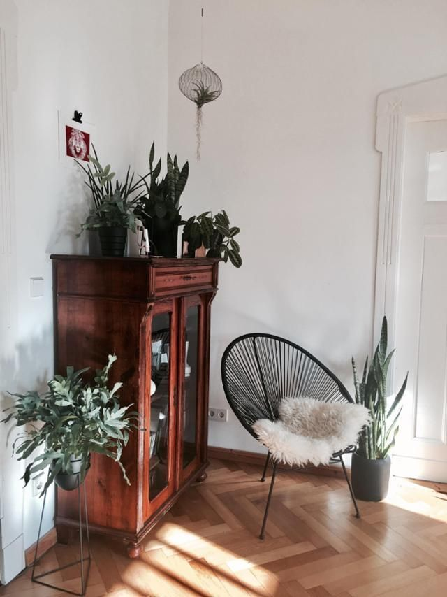 old cupboard and acapulco chair