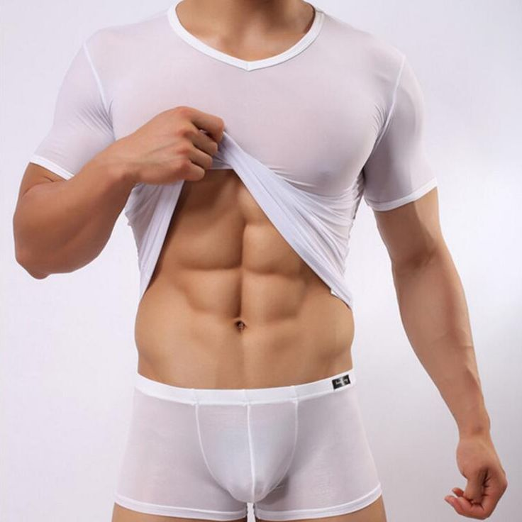 T-shirt Sexy Mens Transparent Sheer Mesh Underwear See Through Short Sleeve T shirt Tops Undershirt Fitness Casual Solid Blusas