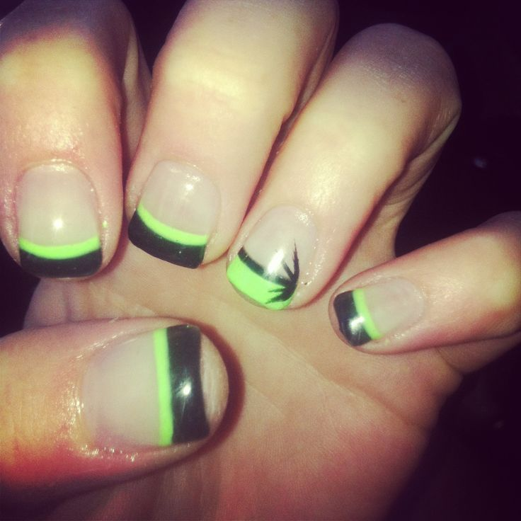Lime Green And Black Nail Designs 70