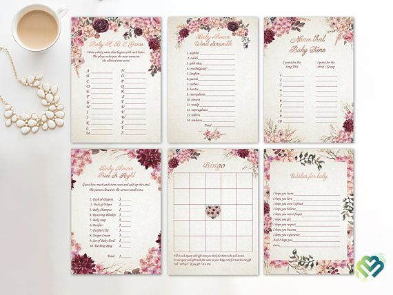 Check out this item in my Etsy shop https://www.etsy.com/listing/551793227/floral-baby-shower-games-printable-baby