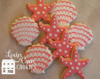 Starfish & Sea Shell Cookies 1 Dozen / Turquoise Wedding