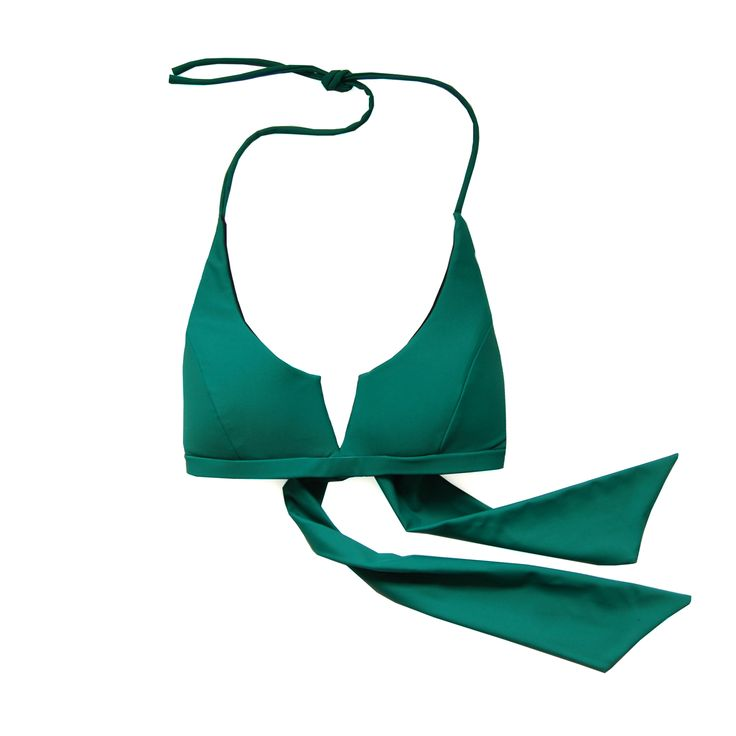 Otis Top in Green. Shop at www.bodymaps.pl #swimwear #beachwear #swimsuit #bathing #suit #top #green #black #vshape #wide #ribbons #plain #classic #modern #youngdesigner #newbrand #bodymaps