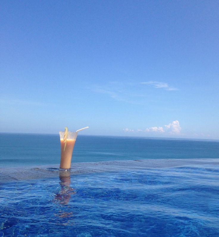 #infinitypool #juice #tropical #blue #sky #ocean #pool #sunny #blissful