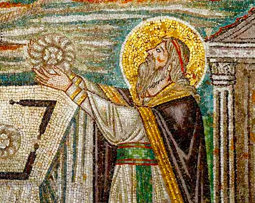 Righteous Melchizedek, King of Salem, offering a sacrifice to God - http://www.johnsanidopoulos.com/2010/12/homily-on-melchizedek-king-and-priest.html (Mosaic from San Vitale Basilica, Ravenna)