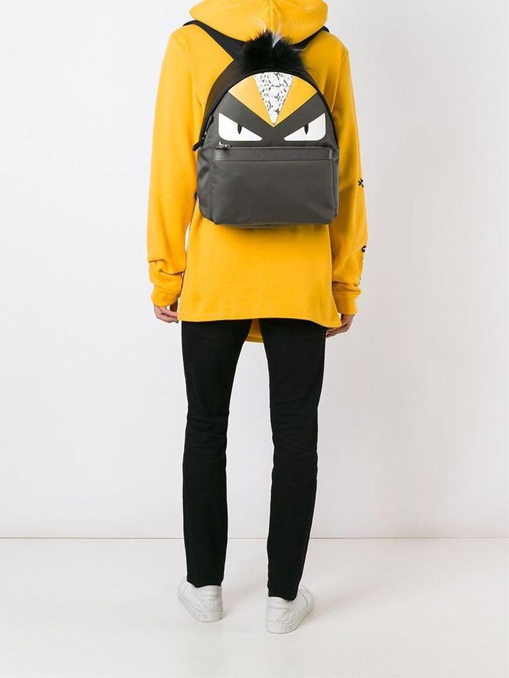 FENDI BACKPACK BAG BUGS BACKPACK GREY YELLOW FOX FUR MONSTER EYES 7VZ0128FLF06HU #FENDI #Backpack