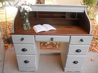 Rolltop desk - LOVE the inside being stained                                                                                                                                                      More