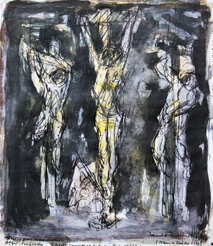 DAVID FAIRBAIRN  'Study 1 from Piazzetta, Christ Crucified between the Two Robbers'   2012  acrylic, gouache, pen & ink  32 x 28 cm