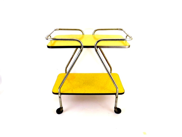 rolling cart kitchen cart bar cart yellow formica 1960s table