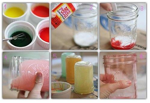 DIY pour colorer des bocaux avec du vernis colle et des colorants alimentaires