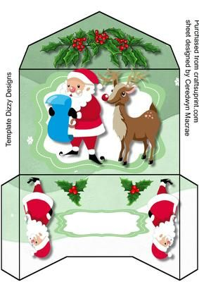Lovely Monet Wallett Santa and Reindeer on Craftsuprint designed by Ceredwyn Macrae - A lovely Money wallet to make and give to anyone at Christmas with Santa and Reindeer ,has one greeting tag left blank , - Now available for download!