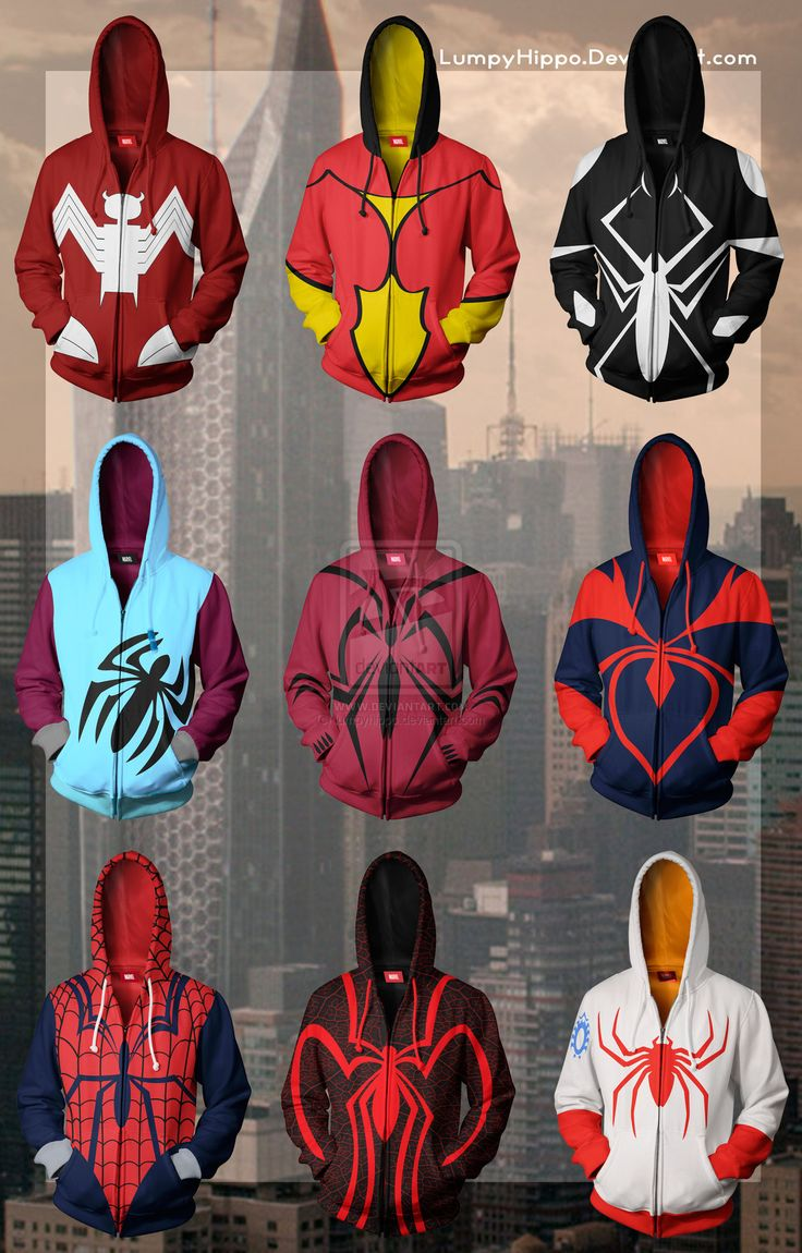 Spiderman Hoodies 3 by lumpyhippo on deviantART (I would punch someone for the Mayday Parker hoodie....)
