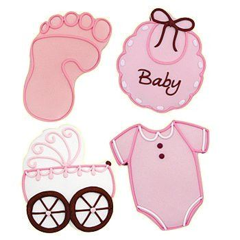 Our Baby Girl Cookie Set includes a bib, a carriage, a onsie and a footprint in pink. Each Baby Girl Cookie measures 5 inches long x 4 inches wide and contains wheat, eggs, milk and soy. Perfect for B