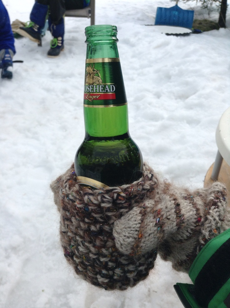 Knitted beer mitten cozy by CV Genner