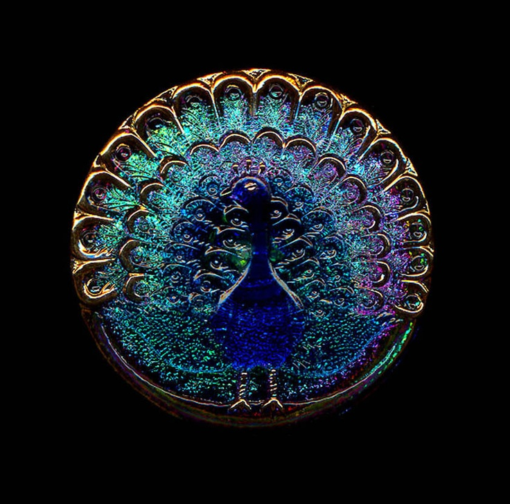 TREASURIES Modern Czech Glass Peacock Button Gold Luster Multicolor Mirror Back XLG Buttons. $18.00, via Etsy.