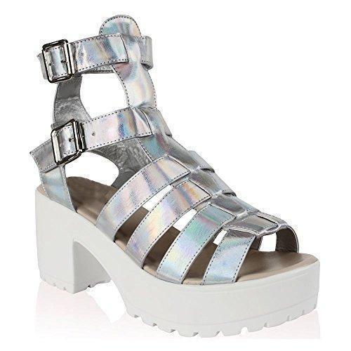 Oferta: 15.55€ Dto: -48%. Comprar Ofertas de Damas De Blanco De Plata Holograma Enlistonada Zapatos De Tacones De Cuña Plataformas 3-8 UK4/EURO37/AUS5/USA6 barato. ¡Mira las ofertas!