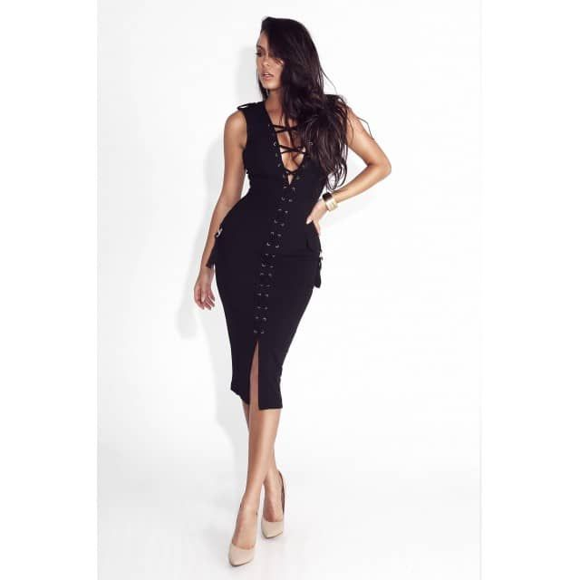 Black Lilith All Laced Up Gold Detailed Dress - JLUX Label