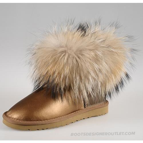 UGG 5531 Fox Fur High low Top Classic Short Chestnut