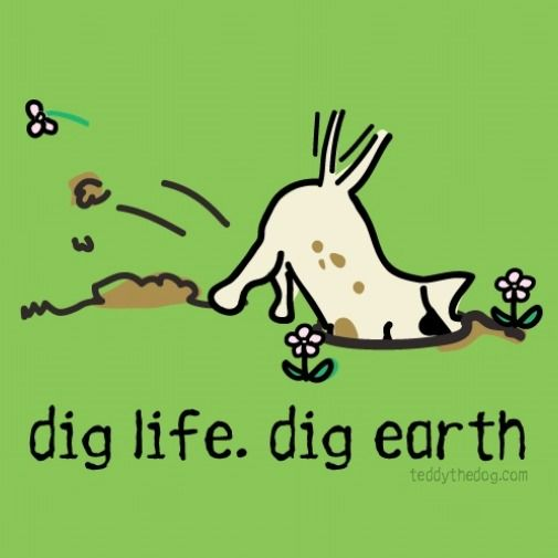 Earth Day Is April 22nd Dig Life Dig Earth Teddy The Dog Ladies Vneck On Key Lime Limited