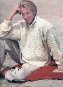 """Weißen Pullover mit Relief """"Zöpfe"""", horizontale Streifen und Diamanten"""