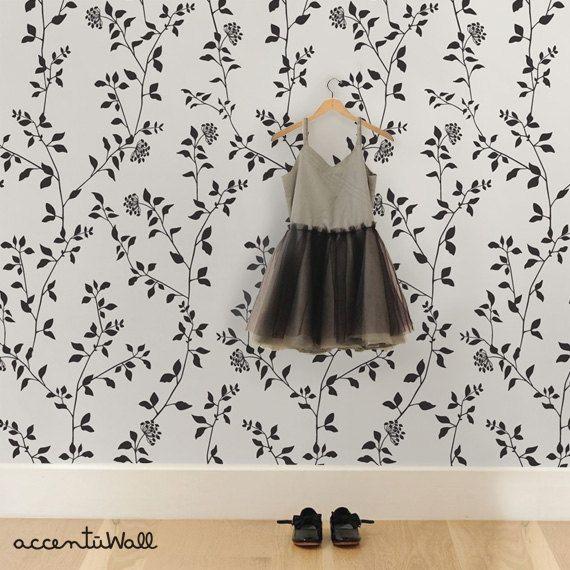 Branch Flower Black Peel & Stick Fabric Wallpaper