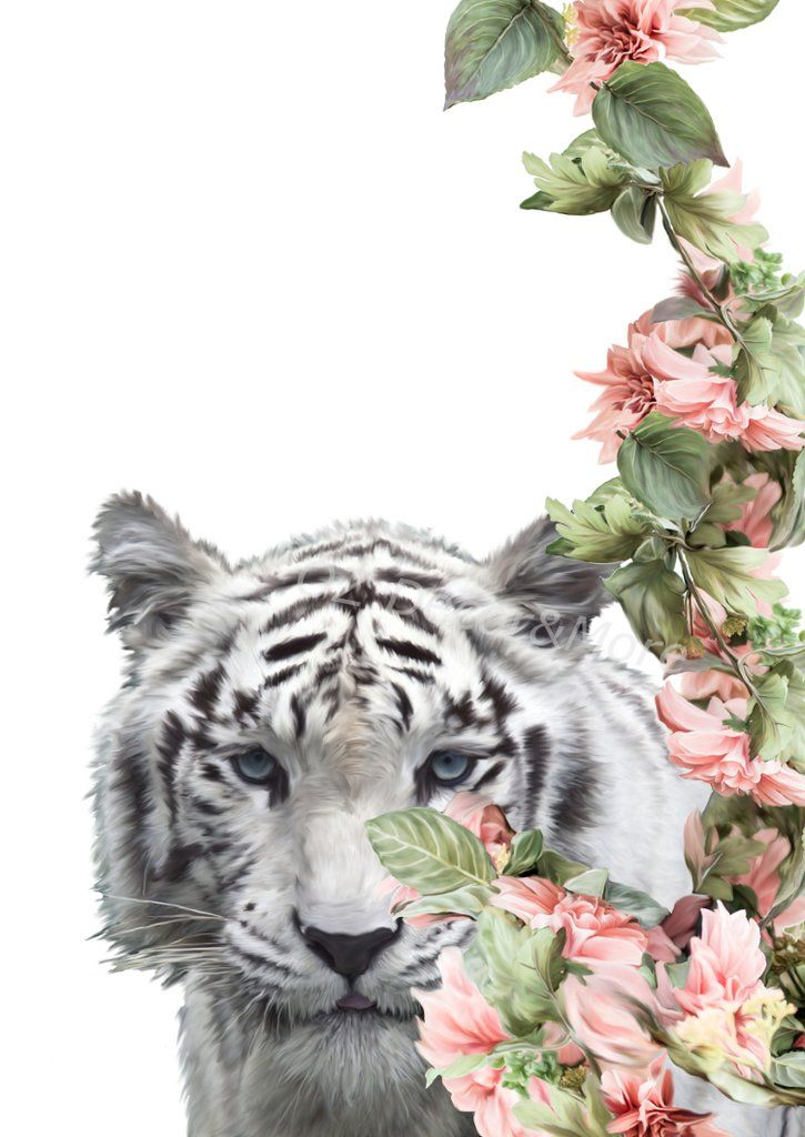 Wall Art - Floral White Tiger (A-667) in 2019 | Decor | Art wall ...