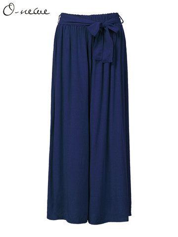 O-Newe Elastic Waist Wide Leg Pants With Belt For Women