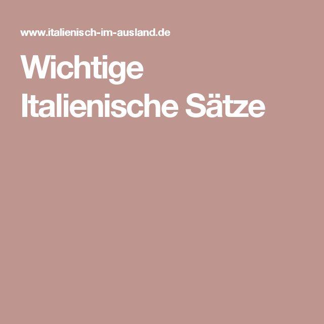 Wichtige Italienische Sätze