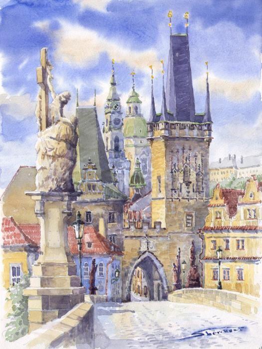 Prague. Charles bridge Yuriy Shevchuk Art.